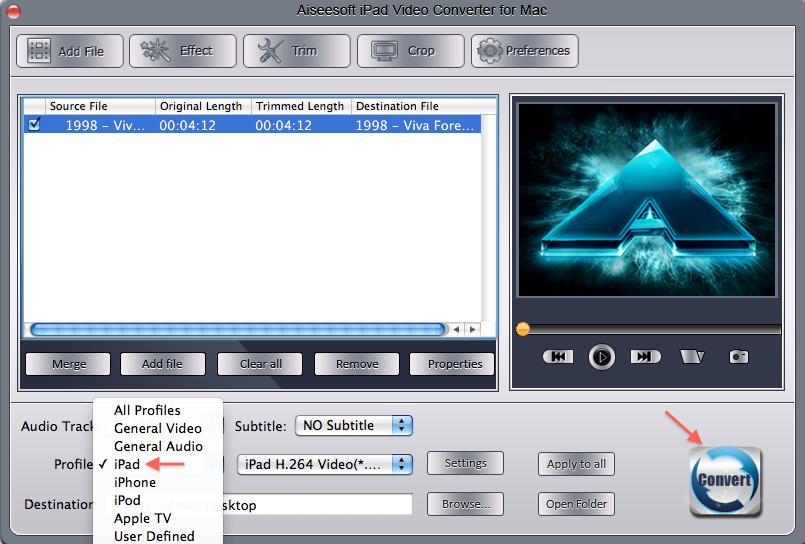 Очень удобное решение под Mac это программа - Aiseesoft iPad Video Converte
